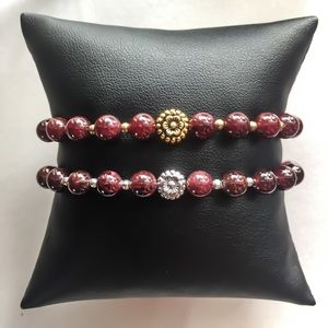 Jewelry - Silver Garnet Rosary Bracelet
